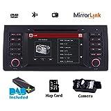 Doppel DIN Autoradio CD DVD Navi GPS Navigation Bluetooth für BMW E39 5er-Serie 1995-2002 X5 Serias E53 M5 Bluetooth 17,8 cm HD kapazitiver Touchscreen Mirroring DAB+ Radio RDS 3G Canbus