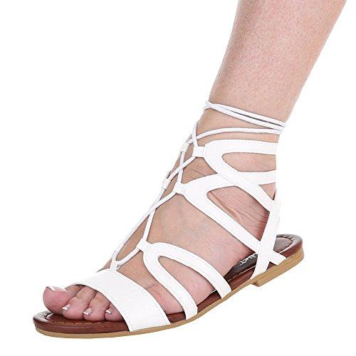 Damen Schuhe, JA67, SANDALEN PUMPS MIT SCHNÜRUNG Weiß