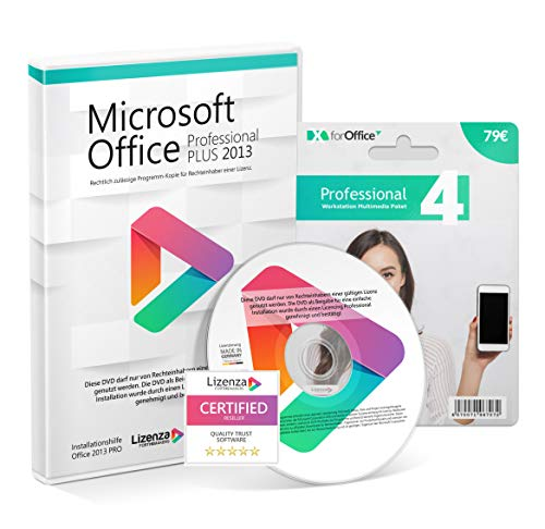 Microsoft® Office 2013 PRO (Professional Plus) DVD mit original Lizenz. Lizenza® Plus Pack. Alle Sprachen 32 & 64bit