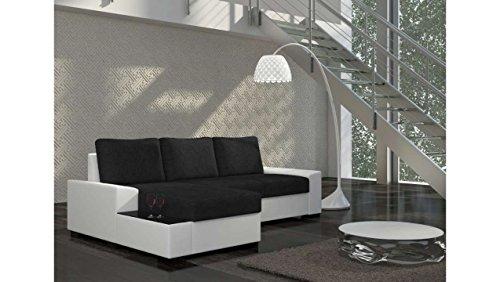 Justhome nergo divano angolare divano letto tessuto a strutturale finta pelle (axlxp): 83x245x160 cm bianco nero penisola a sinistra