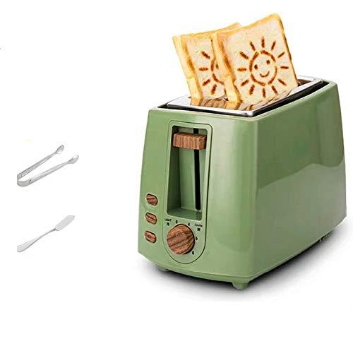 JINRU 2 Scheiben, Retro Kleiner Toaster mit Bagel, Abbrechen, Auftaufunktion, Extra breiter Schlitz Kompakte Toaster aus Edelstahl für Brotwaffeln,Green