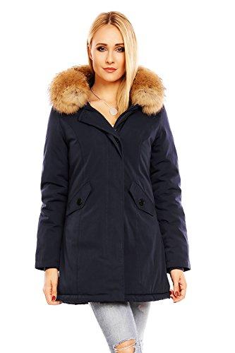 Mayaadi Damen Winter Parka Jacke Mantel 100 % Echtes XXL Fell Pelz Kapuze HS-6015 D. Blau XXL (Echter Pelz-jacken)