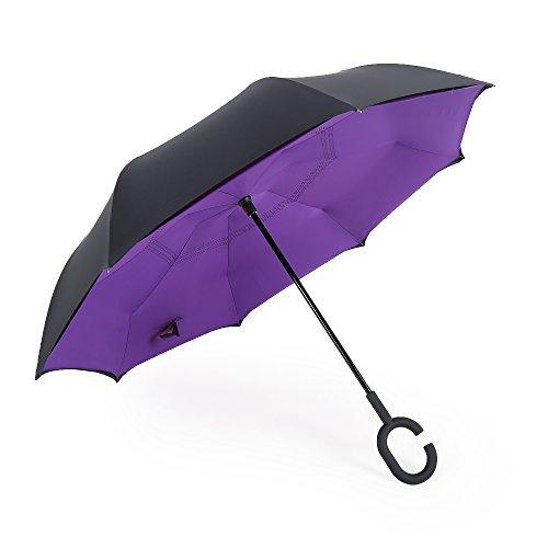 merrya antivento protezione UV ombrello doppio Canopy Inverted elover Big dritto retro ombrello per auto pioggia Sunny esterni Libera installazione Inside Out con mani libere a manico Purple