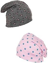 Vimal Prited Dark Grey And Printed Pink Beanie Cap For Women(Pack Of 2)