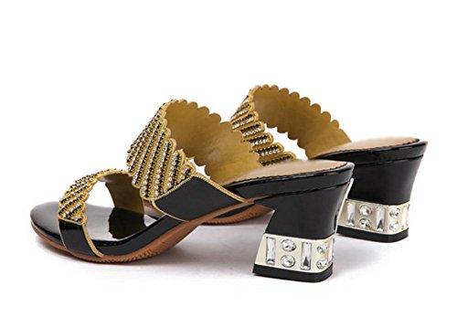 Im Sommer mit dem Wort weiblichen Drag rohen Sandalen mit Strass Black