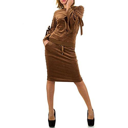 Schuhcity24 Damen Anzug Samtanzug 2 Teiler Perlen Freizeitanzug Hose Sweatshirt Trainingsanzug Fitness Kleidung Braun S