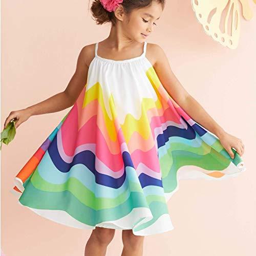 Mitlfuny Unisex Baby Kinder Jungen Zubehör Säuglingspflege,Sommer-Kleinkind-Baby-Mädchen-ärmelloses Regenbogen-Druck-Kleid Weste kleidet Kleidung