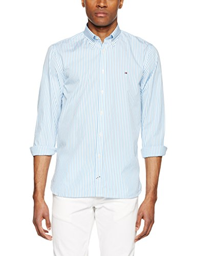 Tommy Hilfiger Herren Freizeit Hemd Exklusiv auf Amazon, , , , , Gr. Medium, Blau (Shirt Blue/Classic White 903) (Blau Gestreifte Button-down-shirt)