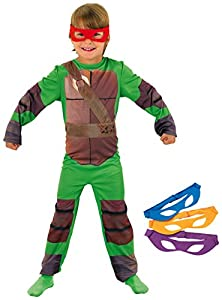Tortugas Ninja - Disfraz de Tortuga Ninja con 4 antifaces para niño, infantil 8-10 años (Rubie