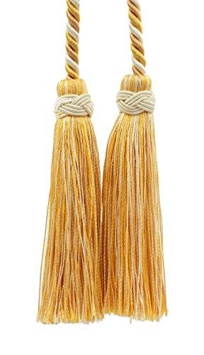 DecoPro double Tassel clair/sable doré/Tassel Cravate avec pompon 10 cm, 215 cm de propagation (longueur de cordon), Imperial II Collection Style # ICT Couleur citron Meringue – B2523