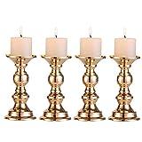 Set aus 4 Gold-Metall-Säulen-Kerzenhaltern, Hochzeit Mittelstücke Kerzenständer Kerzenständer Dekoration Ideal für Hochzeiten, Besondere Anlässe, Partys (Passend für 50mm Dia Kerze 15cm H, 4 Pcs)