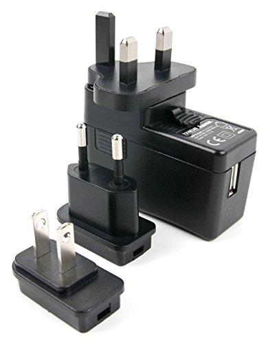 Duragadget Chargeur Secteur USB pour Casque Audio ESSENTIELB Air'sound 2, Air'sound HD3, Flow BT et Heavy BT + adaptateurs internationaux interchangeables