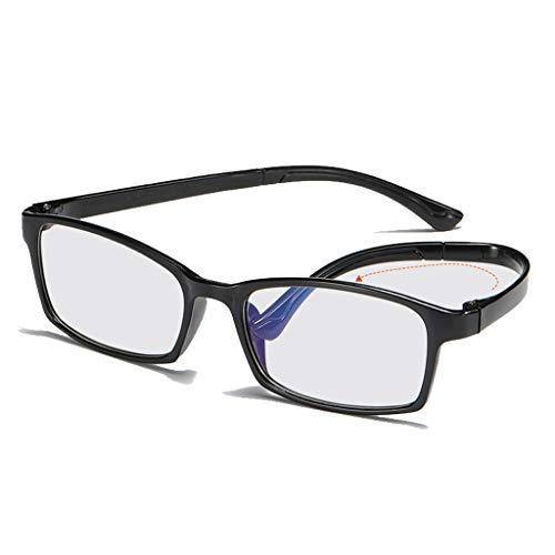 Axclg Reading glasses Schwarze Lesebrille mit Federscharnier aus Kunststoff inklusive Sonnenbrille Unisex (+ 1,0, 1,5, 2,5, 3,0)