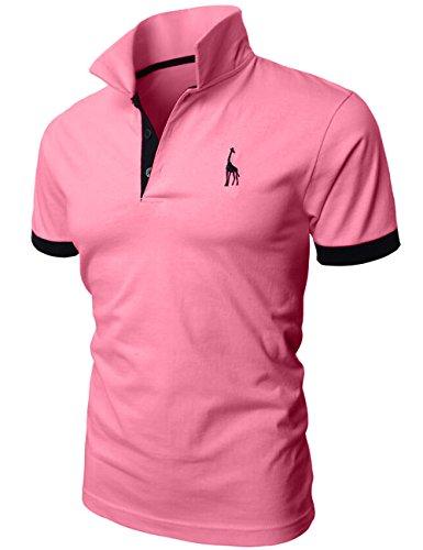 Hombre de manga corta polo Contraste Collar Polo Camisa Golf de tenis Camiseta Jirafa Glestore rosa M