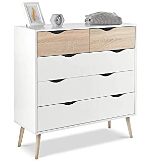 VonHaus Chest of Drawers Scandinavian Nordic Style - White and Light Oak Effect with Tapered Legs - Features 5 Soft Close Drawers - Modern, Contemporary Bedroom Furniture