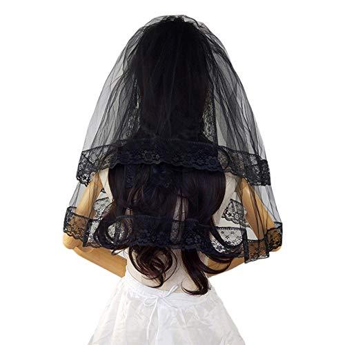 Newhaa abito da sposa cos velo halloween costume doppio strato con pettine in pizzo copricapo nero