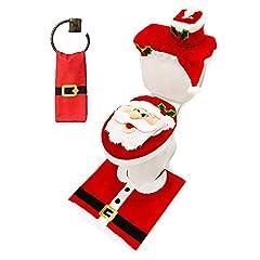 Idea Regalo - JOYIN 5Pezzi di Babbo Natale Tema Bagno Decorazione Set Include coprisedile WC, Carta igienica, tappeti, Serbatoio di Scatola di Babbo Natale e Asciugamano per Natale Interni Décor, bomboniere