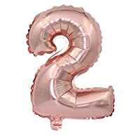 BESTOYARD 32 Inch Foil Number Balloon 2 Party Metallic Helium Balloon Festival Birthday Anniversary Decorations Photo Props