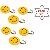Bridge2shopping Smiley Self-Adhesive Plastic Wall Hanging Hook (Load Capacity 3 kg) - Pack of 6