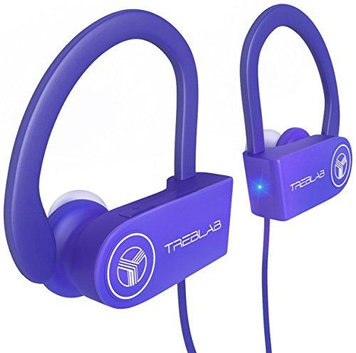 TREBLAB XR100 Auriculares con Bluetooth. Los mejores auriculares inalámbricos para deportistas de todo tipo. Tecnología IPX4, Waterproof, y a prueba de sudor. Audífonos ajustables con micrófono