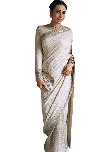 Karishma Kapoor Georgette Off White Replica Saree  available at amazon for Rs.1950