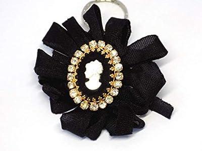 Bijoux de sac Camée Noir Or Cristal Tissu Noir
