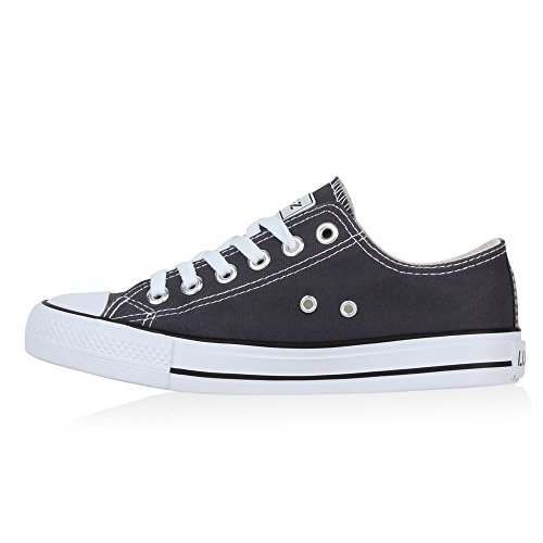 Damen Schuhe Sneakers | Turnschuhe Freizeitschuhe | Low Sneaker | Übergrößen | Prints Glitzer Denim Dunkelgrau