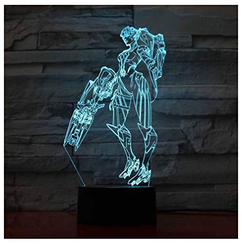 Krieger Modell 3D Nachtlicht Led Optische Täuschung Lampe, 16 Farben Fernbedienung Schreibtisch Tischlampen, Für Kinder Geschenk Nachtlicht Schlafzimmer Dekor Lichter