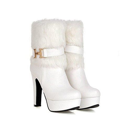 AgooLar Damen Hoher Absatz Rein Weiches Material Reißverschluss Stiefel mit Schnalle Weiß