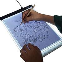 Mesa de luz LED A4 con Cable USB, Almohadilla de luz de Dibujo portátil Regulable de Brillo para Artista, Dibujo, bocetos, animación