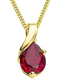 Miore 9 kt (375) Yellow Gold Pear Shape Ruby Pendant Necklace on 45cm Curb Chain for Women