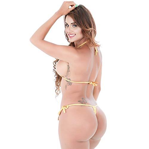 826da344416 ... Mpitude Free Size Shiny Golden Micro Bikini Swimwear Sexy Lingerie  String Bikini Honeymoon Bikini Set for ...
