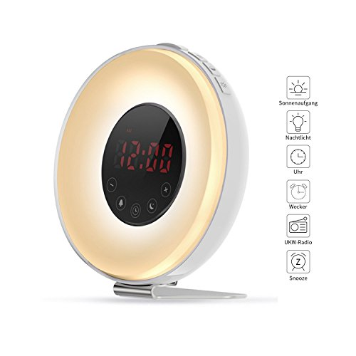 Aipker Lichtwecker Wake up light Sonnenaufgang Wecker mit FM Radio Snooze Funktion 7 Farben LED Nachttischlampe Nachtlicht Naturklängen für Tiefschläfer Kinde