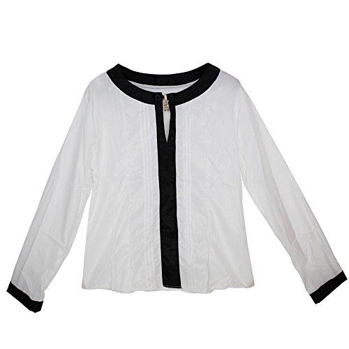West See Damen langarm Bluse Shirt Chiffon Frauenbluse Fit langärmelig T-Shirt  4 Farben Weiß