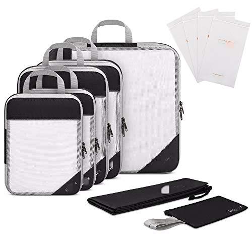 4d807e91be Estensibile Travel Bag Organizer Storage Mesh Di Imballaggio Cubi Con Tasca  Nascosta & 4 Riutilizzabili Zip