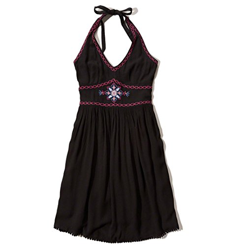 hollister-damen-embroidered-halter-kleider-grosse-small-schwarz-622005279