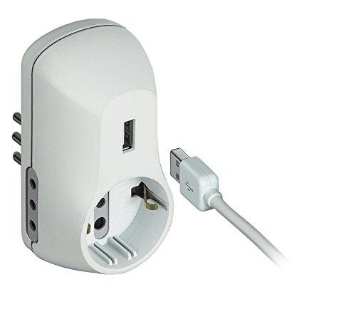 BTicino S3613DU Multipresa Adattatore B3 con Presa USB, 1.5 A, Bianco
