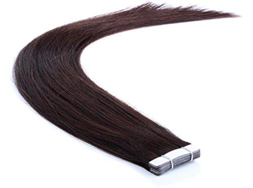 Remy Echthaar Tape On/In Extensions Haarverlängerung 10 Tressen mit dem extra starken WEISSEN TAPE (50cm, 02 - Dunkelbraun)