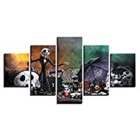 CJFHBVUQ 5 Panel Canvas Wall Art Home Modern Decoration Gift Contemporary 3D Print Images Abstract Painting Picture Taro Umbrella Living Room Bedroom Artwork Background 80X150Cm