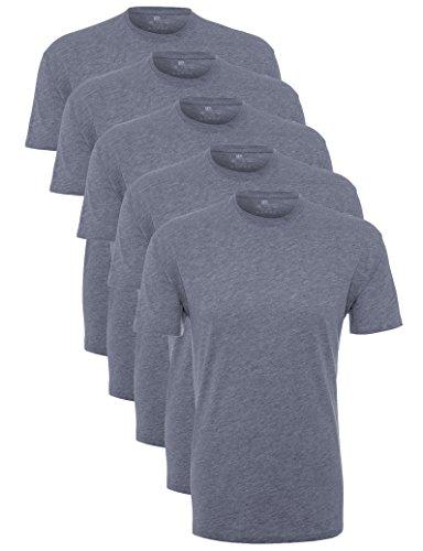 Lower East Herren T-Shirt mit Rundhalsausschnitt 5er Pack, Blau (Rauchblau Melange), X-Large (Baumwoll-t-shirt Weiches)
