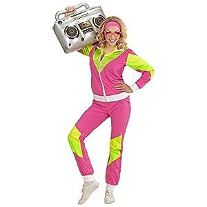 WIDMANN 98810 - Disfraz de Adulto de los años 80 para mujer, color rosa/amarillo/verde, XXL