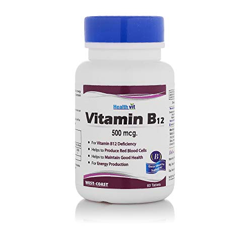 HealthVit Vitamin Brain and Nervous Support B12 500 mcg - 60 Tablets