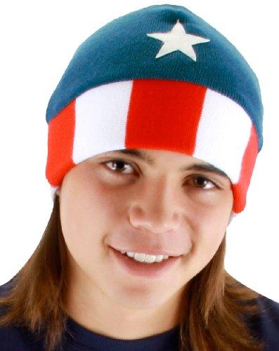 Elope Men's Captain America Beanie Hat, Red/White/Blue, One Size (Captain America Erwachsene Kit)