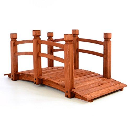 Nexos GH35073 Holzbrücke mit Geländer Teichbrücke rot braun begehbar Größe 150x67x65 cm Dekobrücke Holzsteg Gartenbrücke witterungsbeständig Gartendekoration Teichübergang, rotbraun