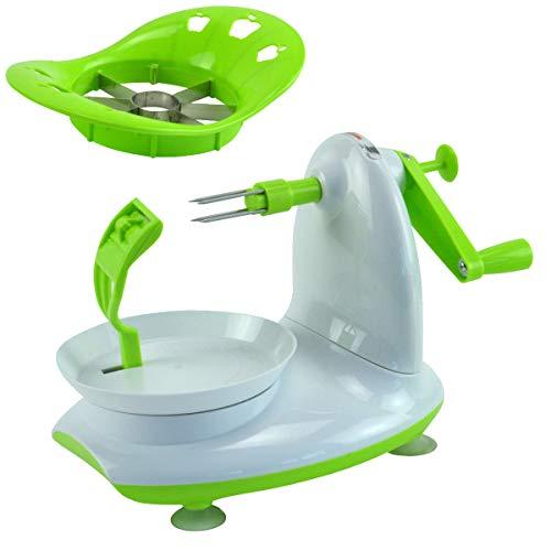 Relaxdays Apfelschäler mit Apfelschneider 2er Set aus Schälmaschine zum Apfel schälen und Apfel zerkleinern sowie als Entkerner auch ideal zum Kartoffeln schälen , grün-weiß
