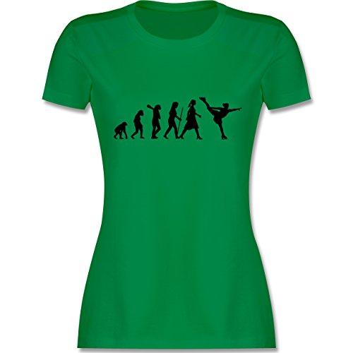 Evolution - Eisläuferin Evolution - tailliertes Premium T-Shirt mit Rundhalsausschnitt für Damen Grün