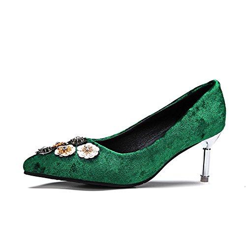 DIMAOL Scarpe Donna Vello Caduta Molla Comfort Tacchi Stiletto Heel Punta Fiore per Ufficio Outdoor & Carriera Arrossendo Rosa Nero Verde Verde
