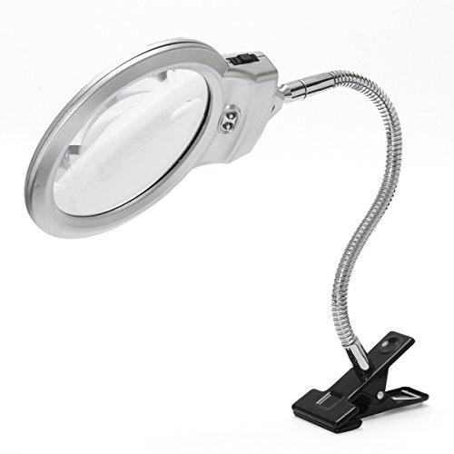 ExcLent Neue 2,5 X 90 Mm 5 X 22 Mm 2 Led Beleuchtete Tischplatte Schreibtischlupe Lupe Mit Klemme