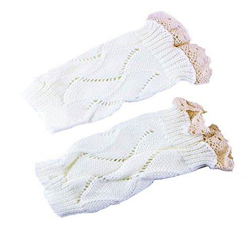 Qissy® Le donne femminile lavorata a maglia Calzino Boot Cuff coccolo Gambali con merletto Crochet (Pizzo Beige Gonna)