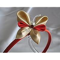 Cerchietto rosso con farfalla Kanzashi